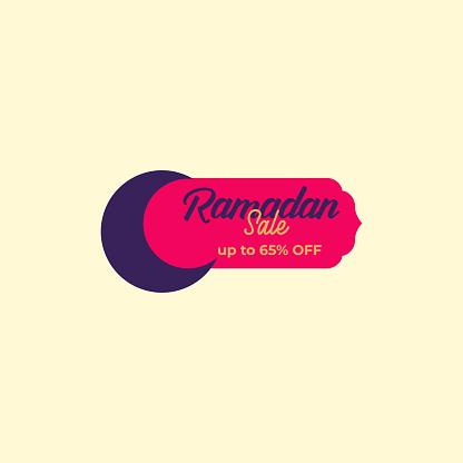 Set Colorful Ramadan Kareem Label sale banner, sticker, badge, ads pop up banner. Special offer Ramadan Sale. Islamic promotion vector illustration Flat style