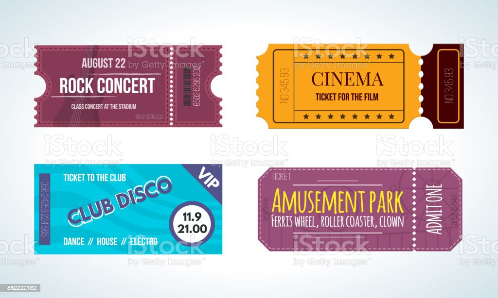 Set colorful tickets: cinema, rock concert, club disco, amusement park vector art illustration