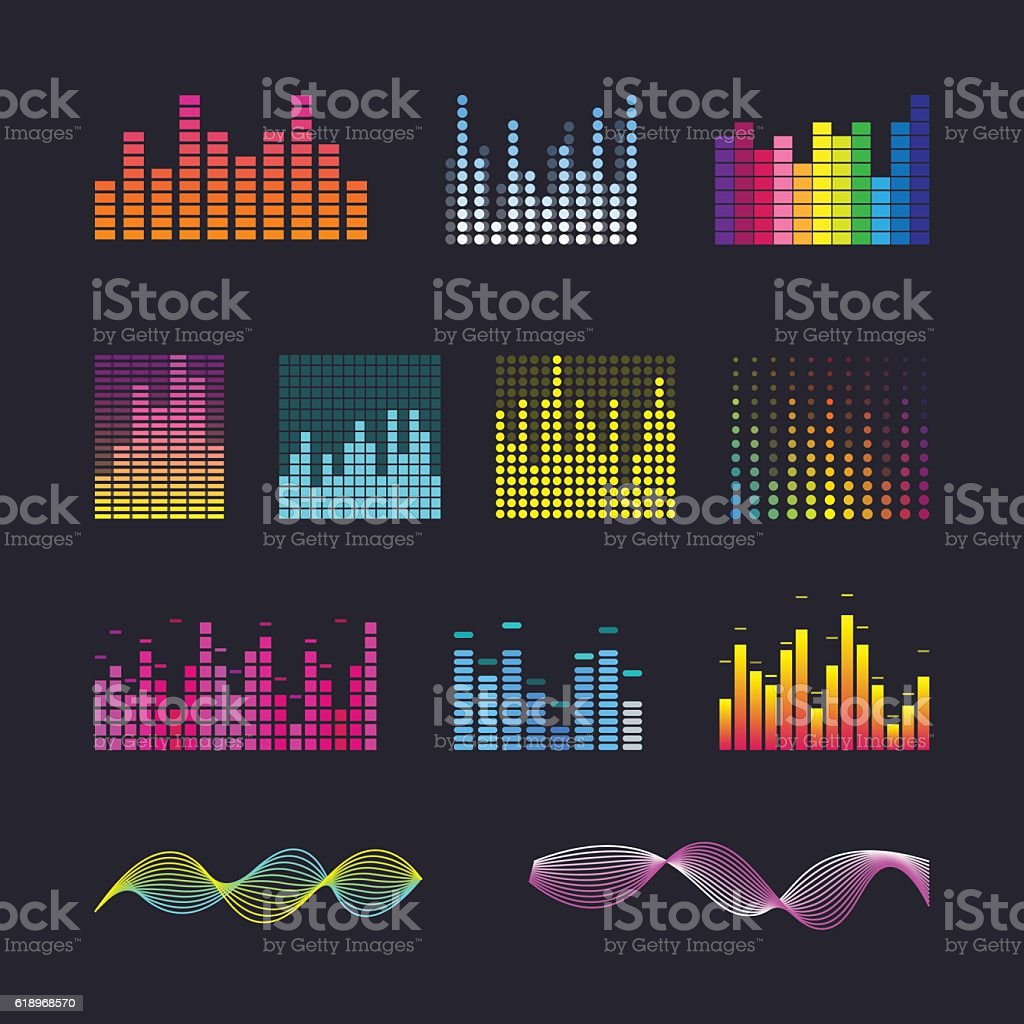 Set colorful ui ux music equalizer sound waves. vector art illustration