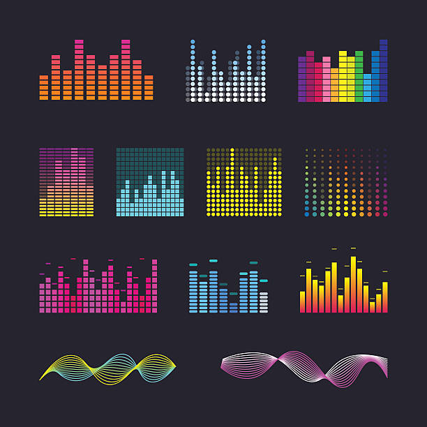 Set colorful ui ux music equalizer sound waves. Set colorful ui ux music equalizer sound waves. Audio electronic bar. Music waves interface. Dj vector illustration. Colorful light audio signal. stereo stock illustrations