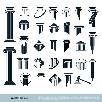 Set Column Pillar Icon for Legal, Attorney, Law Office Logo Vector Template Illustration Design. Vector EPS 10.