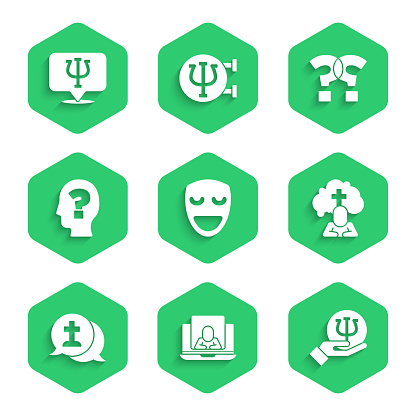 Set Comedy theatrical mask, Psychologist online, Psychology, Psi, Man graves funeral sorrow, Graves, Head with question mark, Question and icon. Vector