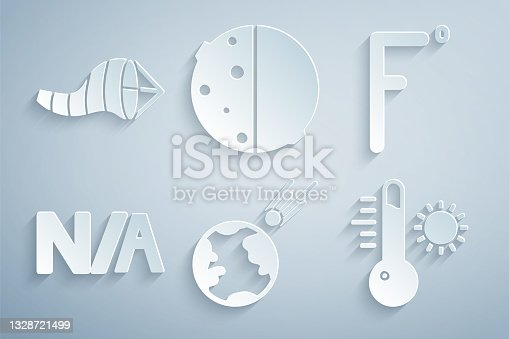 istock Set Comet falling down fast, Fahrenheit, Not applicable, Meteorology thermometer, Eclipse of sun and Cone meteorology windsock wind vane icon. Vector 1328721499