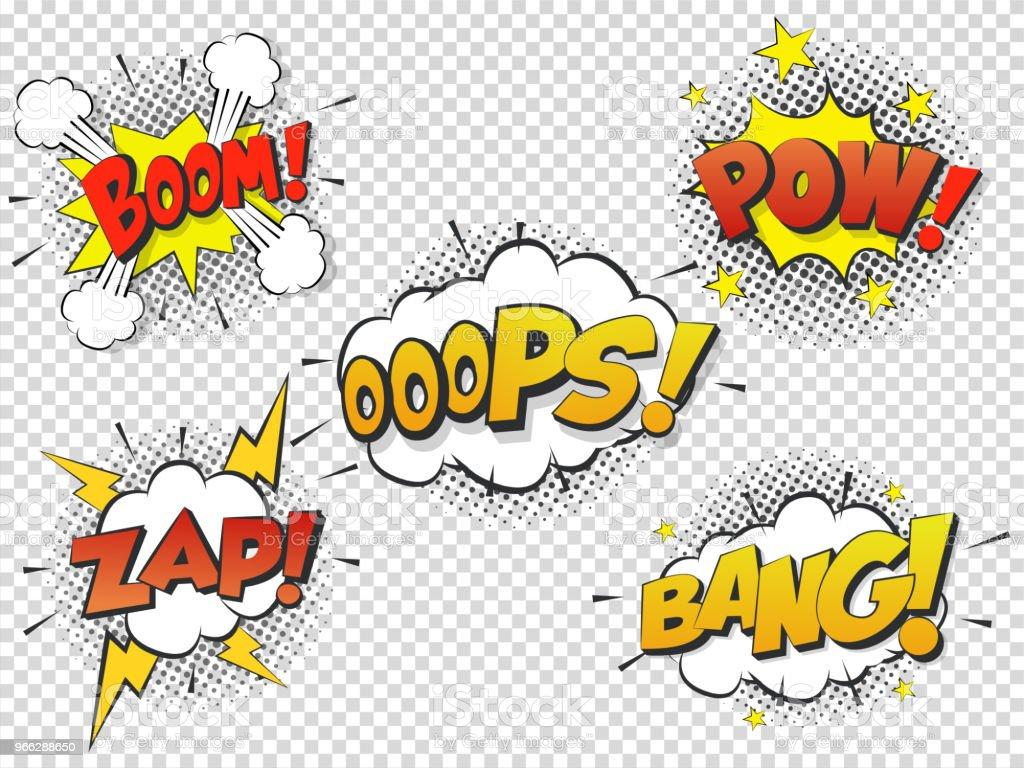 Set Comic speach bubble with prase Boom, Bang, Oops, Pow, Zap. Vector Comic cartoon sound bubble speech. - Векторная графика Бам роялти-фри