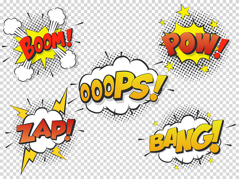 Set Comic Speach Bubble With Prase Boom Bang Oops Pow Zap Vector Comic Cartoon Sound Bubble Speech — стоковая векторная графика и другие изображения на тему Бам