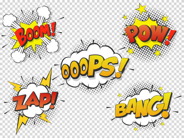 set comic speach bubble with prase boom, bang, oops, pow, zap. vector comic cartoon sound bubble speech. - журнал комиксов stock illustrations
