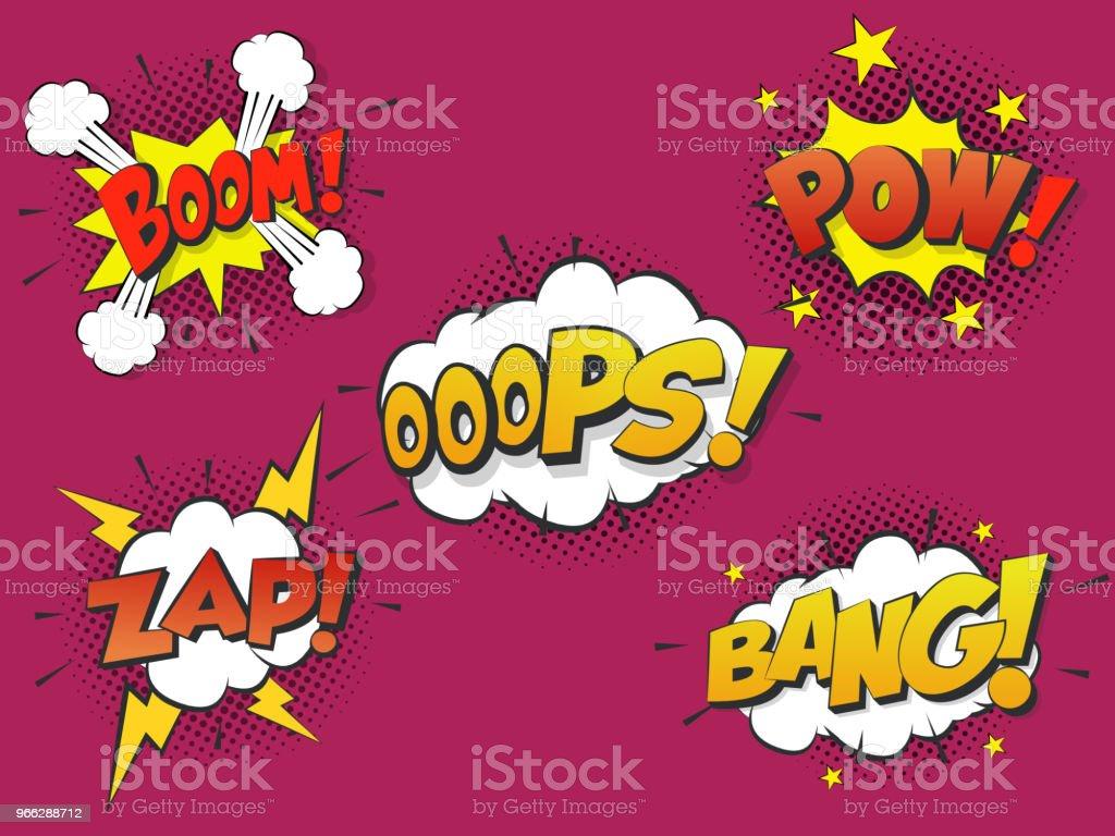 Set Comic speach bubble with prase Boom, Bang, Oops, Pow, Zap. Vector Comic cartoon sound bubble speech. vector art illustration