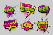 Hey fine LOL wake up pop set hand drawn pictures effects template comics speech bubble halftone dot background pop art style. Comic dialog cloud. Idea conversation sketch explosion.