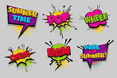 Summer time whee crush pop set hand drawn pictures effects template comics speech bubble halftone dot background pop art style. Comic dialog cloud. Idea conversation sketch explosion.