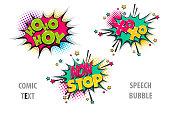 Set comic text speech bubble xoxo, hoho