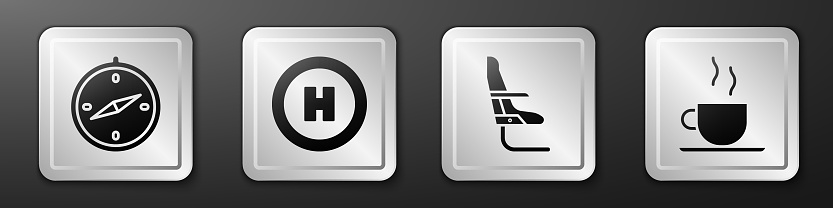 Set Compass, Helicopter landing pad, Airplane seat and Coffee cup icon. Silver square button. Vector