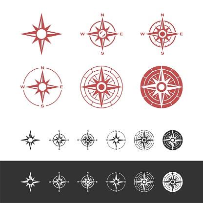 Set Compass Rose Icon Logo Template Illustration Design. Vector EPS 10.