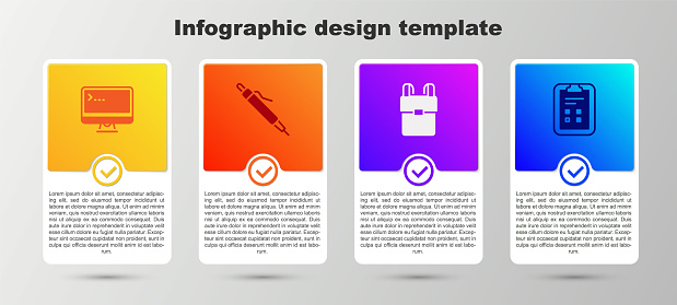 Set Computer monitor, Pen, School backpack and Exam sheet with check mark. Business infographic template. Vector
