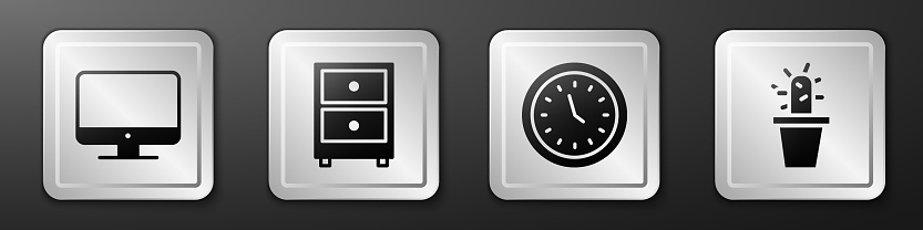 Set Computer monitor screen, Drawer with documents, Clock and Cactus and succulent in pot icon. Silver square button. Vector