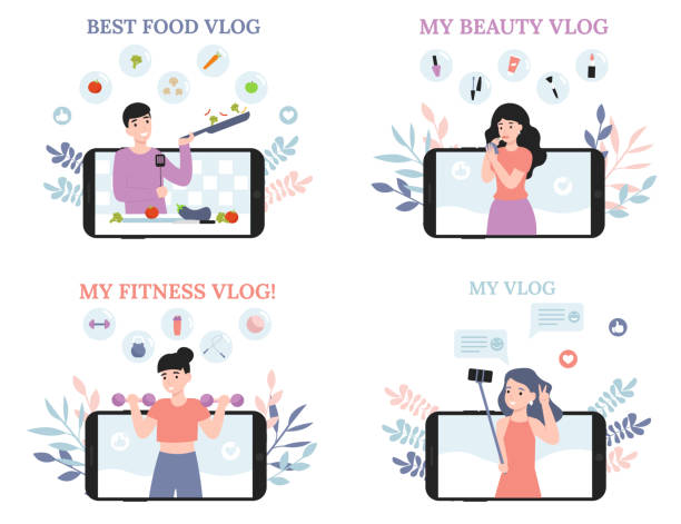 Set concept people vlog, cook, beauty, sport, chat vector art illustration
