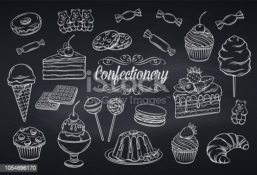 Hand drawn set confectionery and sweets icons on chalkboard. Dessert, lollipop, ice cream with candies, macaron and pudding. Donut and cotton candy, muffin, waffles, biscuits and jelly. Vector illustration.
