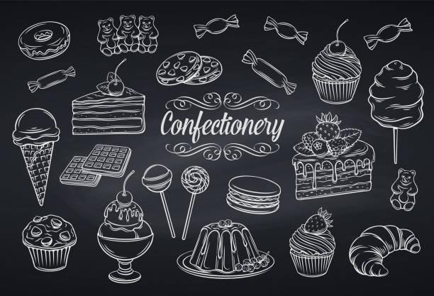 ilustraciones, imágenes clip art, dibujos animados e iconos de stock de iconos de dulces y confitería set - postre