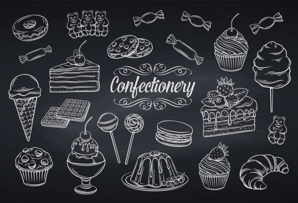 set confectionery and sweets icons vector art illustration