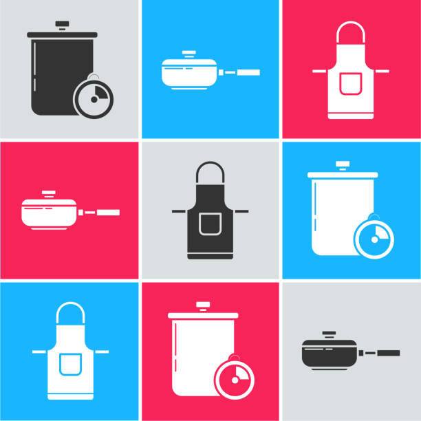 Set Cooking pot and kitchen timer , Frying pan and Kitchen apron icon. Vector Set Cooking pot and kitchen timer , Frying pan and Kitchen apron icon. Vector apron isolated stock illustrations