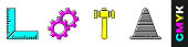 Set Corner ruler, Gear, Hammer and Traffic cone icon. Vector