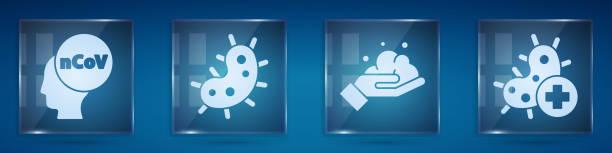 illustrazioni stock, clip art, cartoni animati e icone di tendenza di impostare corona virus 2019-ncov, virus, lavarsi le mani con sapone e virus positivo. pannelli di vetro quadrato. vettore - hand on glass covid