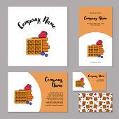 Set corporate branding. Fresh belgian waffles, strawberries and blueberries on white background.