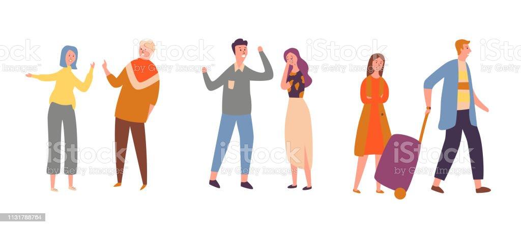 Ilustración De Establecer Pareja Personas Enojado Conflicto