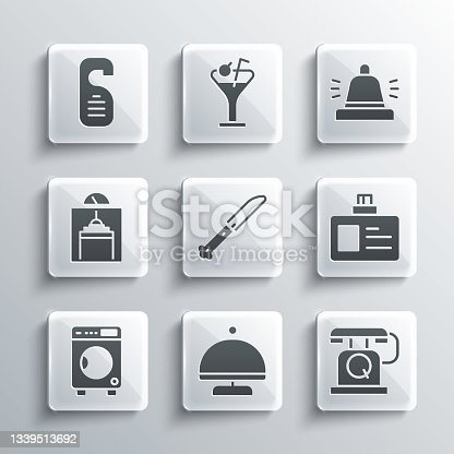 istock Set Covered with tray, Telephone handset, Identification badge, Knife, Washer, Lift, Please do not disturb and Hotel service bell icon. Vector 1339513692