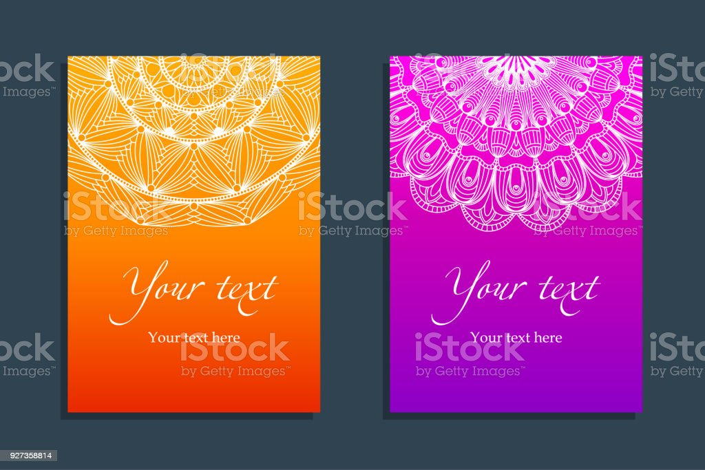 Set Covers with ethnic symmetric abstract circle Set of Covers with ethnic white Abstract circle pattern on bright background. Applicable for Title sheet, Placards, Posters, Flyers etc. Islam, Arabic, ornament. Event or holiday. Vector template. Arabia stock vector
