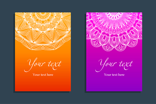 Set Covers With Ethnic Symmetric Abstract Circle Stock Illustration - Download Image Now