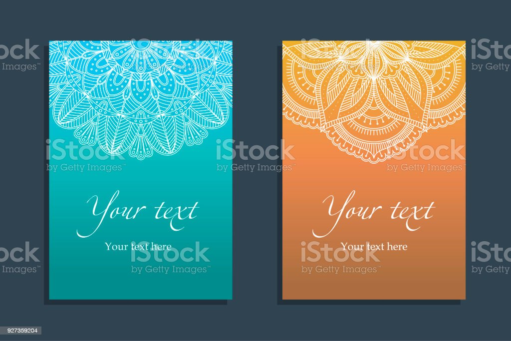 Set Covers with ethnic symmetric abstract circle - Royalty-free Arabia stock vector