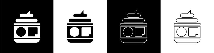 Set Cream or lotion cosmetic tube icon isolated on black and white background. Body care products for men. Vector Illustration