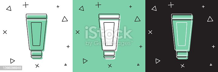 istock Set Cream or lotion cosmetic tube icon isolated on white and green, black background. Body care products for men. Vector Illustration 1266096945