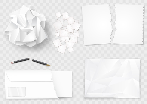 Set creasy paper sheets and pen