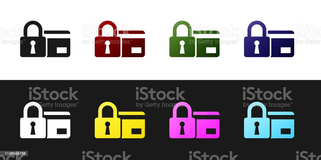 Set Credit Card With Lock Icon Isolated On Black And White