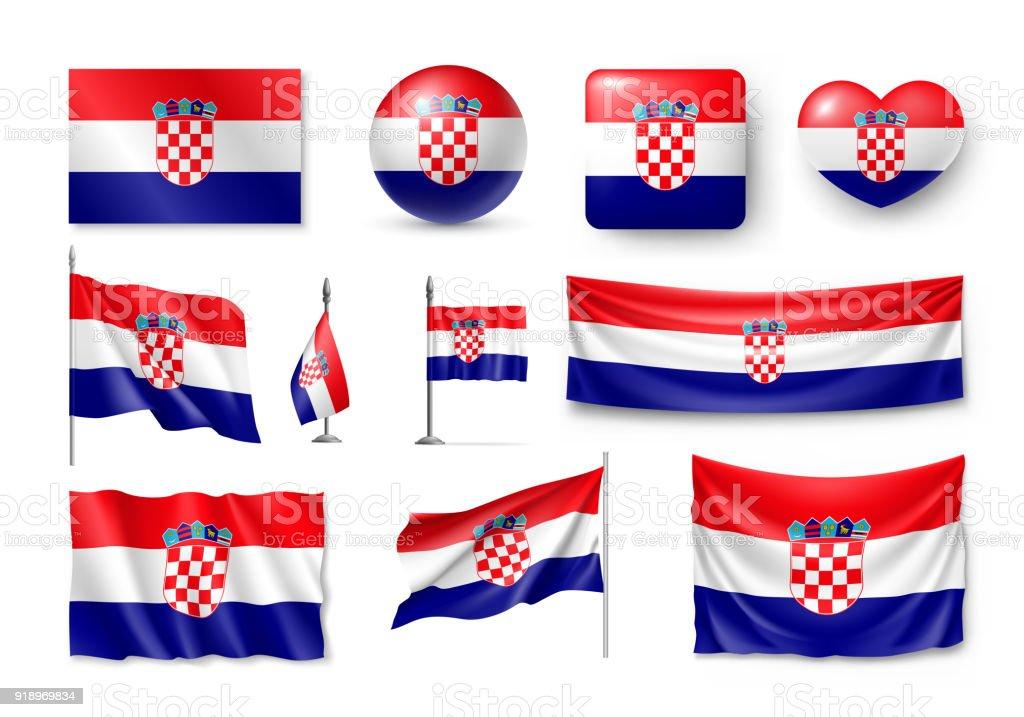 Set Croacia banderas, pancartas, símbolos, relistic icono - ilustración de arte vectorial