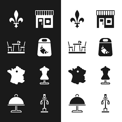 Set Croissant package, French cafe, Fleur De Lys, Coffee shop, Map France, Mannequin, Street light and Covered with tray icon. Vector