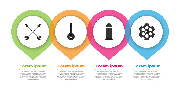 Set Crossed arrows, Banjo, Bullet and Revolver cylinder. Business infographic template. Vector