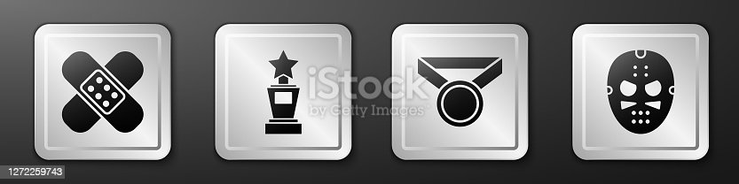 istock Set Crossed bandage plaster, Award cup, Medal and Hockey mask icon. Silver square button. Vector 1272259743