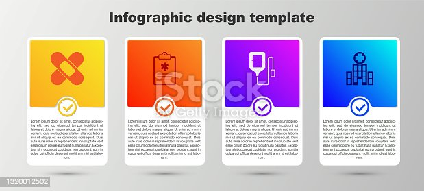 istock Set Crossed bandage plaster, Clinical record, IV bag and Medical hospital building. Business infographic template. Vector 1320012502