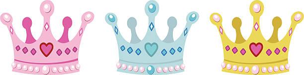 illustrations, cliparts, dessins animés et icônes de set couronnes pour princesse - diademe
