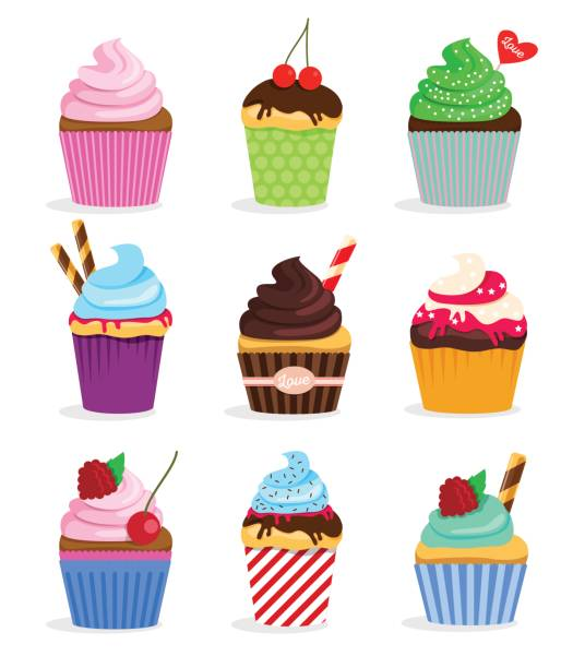 Set cupcakes and muffins vector art illustration