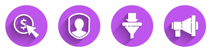 Set Cursor and coin, User protection, Sales funnel with arrows and Megaphone icon with long shadow. Vector