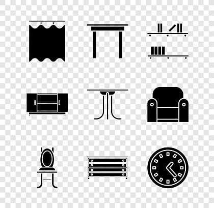 Set Curtains, Wooden table, Shelf with books, Chair, Chest of drawers, Clock, TV stand and Round icon. Vector