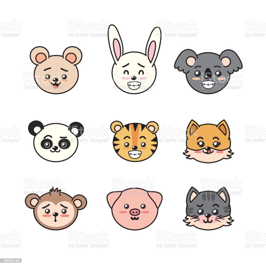 Süß Und Zart Tiere Mit Ausdrücken Festlegen Stock Vektor Art