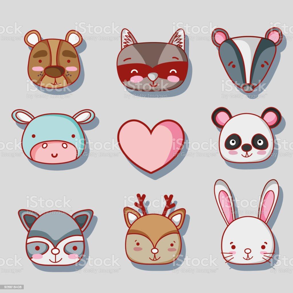 set cute animal patches design векторная иллюстрация