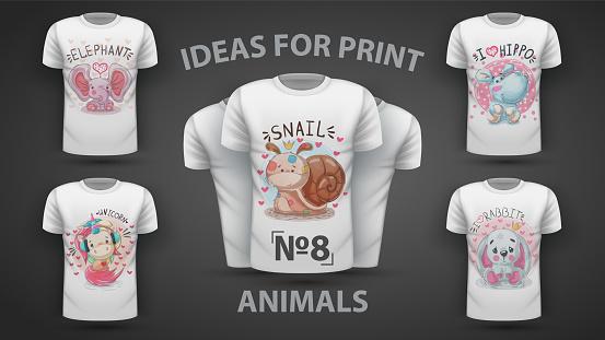 Set cute animals - idea for print t-shirt