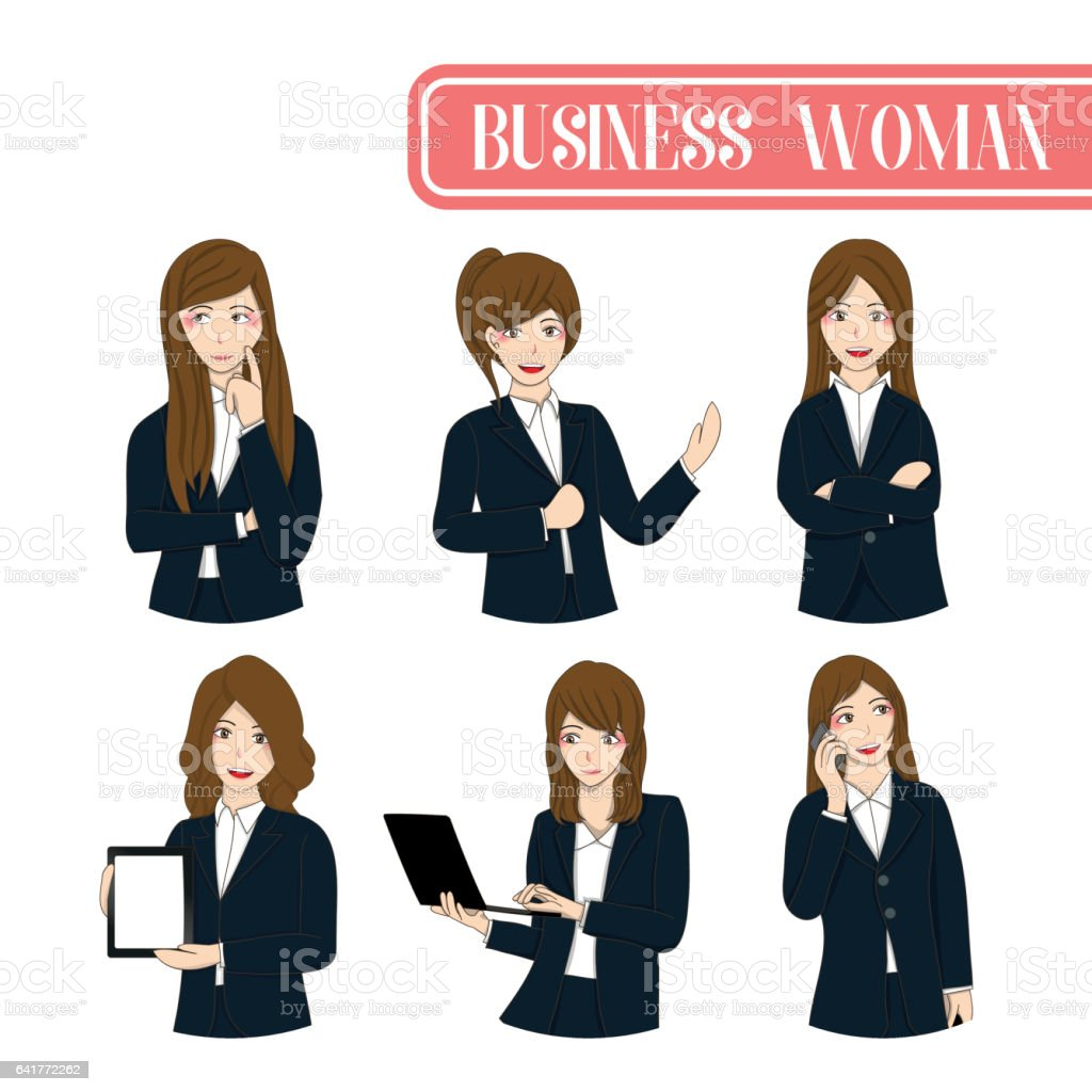 Set Cute Business Woman Cartoon Character. vector art illustration