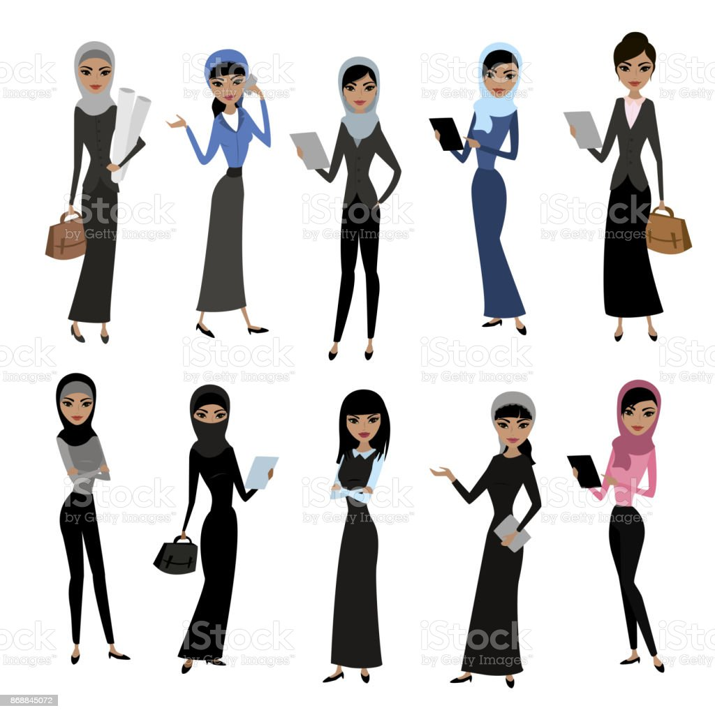 Set cute cartoon arab women vector art illustration
