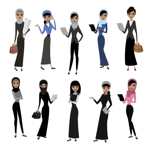 set cute cartoon arab women - business casual fashion stock illustrations